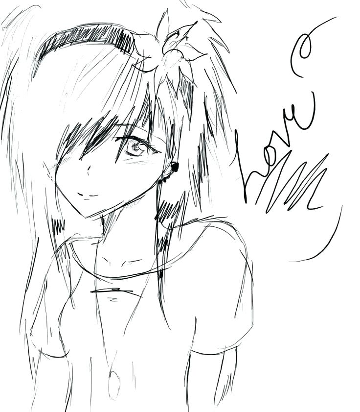 736x841 Anime Angel Emo Coloring Pages Girl Murs
