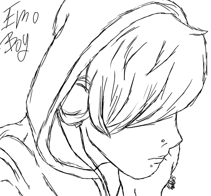 708x657 Emo Boy (Sketch) By Lali The Bunny