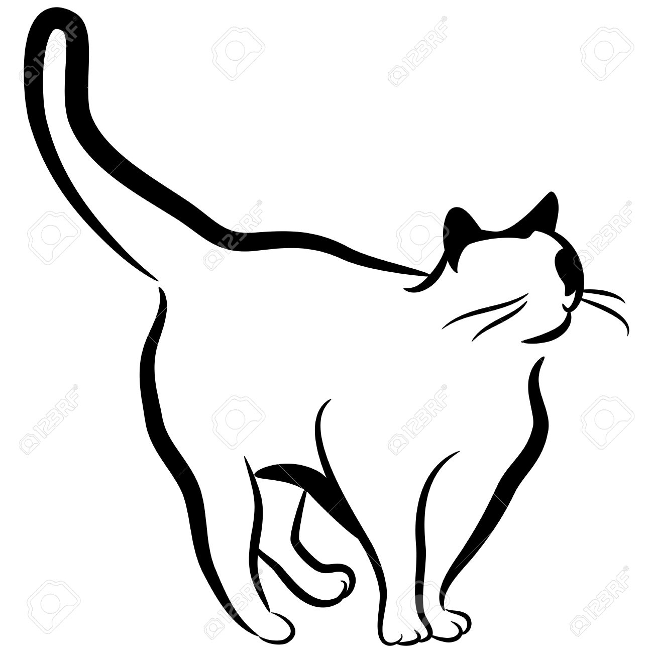 1300x1300 Cat Drawing Black And White An Image Of An Abstract Elegant Cat