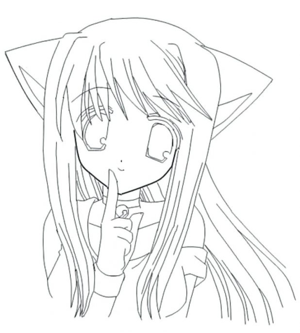 618x686 Coloring Pages Cat Girl Face 37 Marvellous Anime Couple Wolf