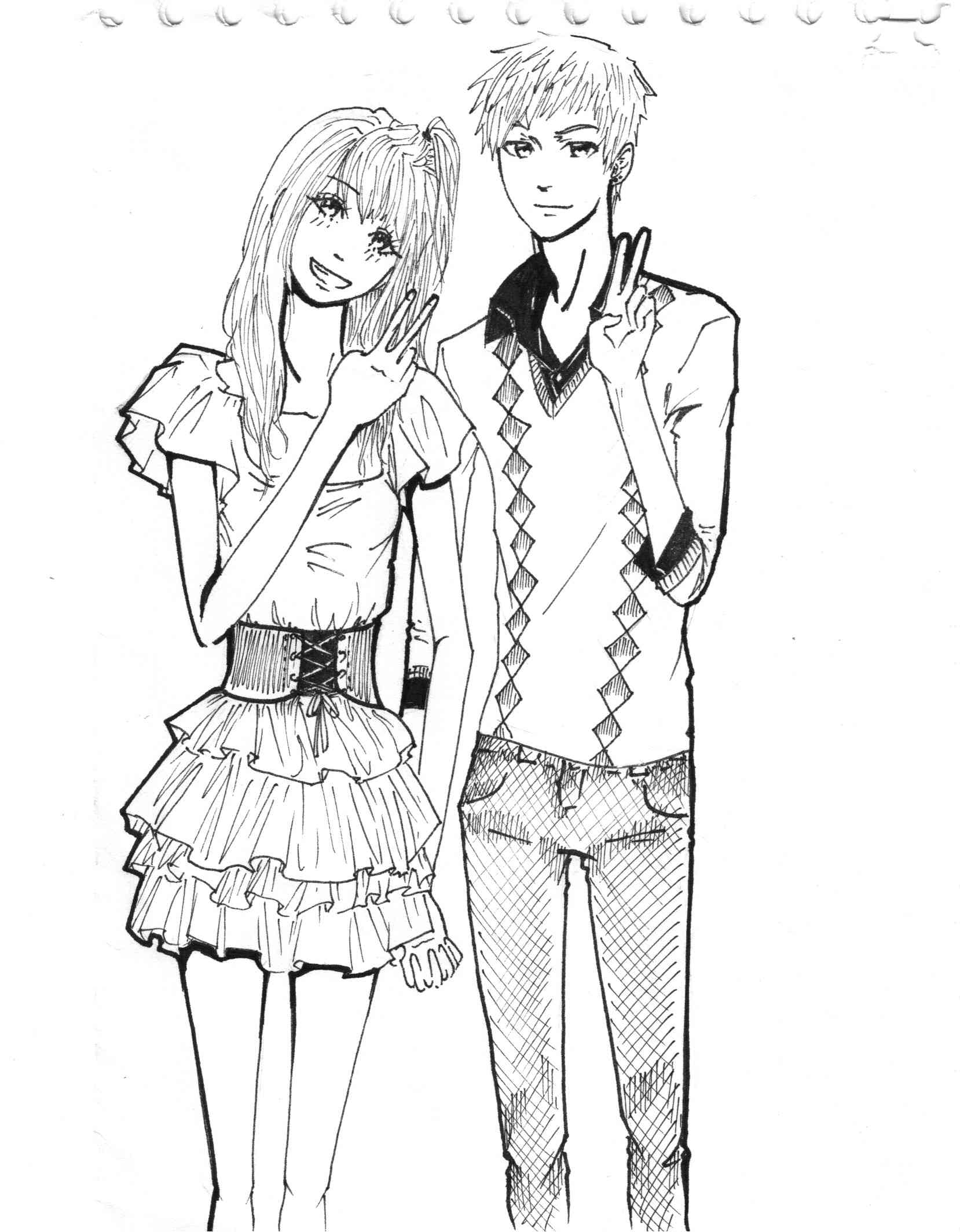 1658x2128 New Cute Couple Cartoon Sketch Cute Anime Emo Couples Drawings