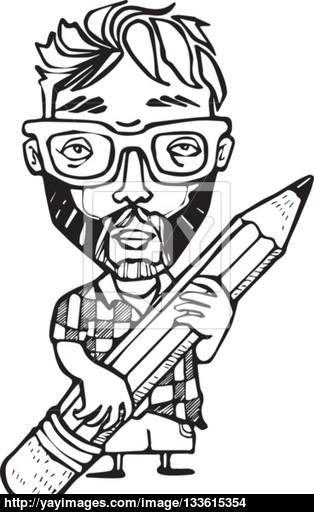 314x512 Vector Cartoon Emo Guy With A Big Pencil Vector