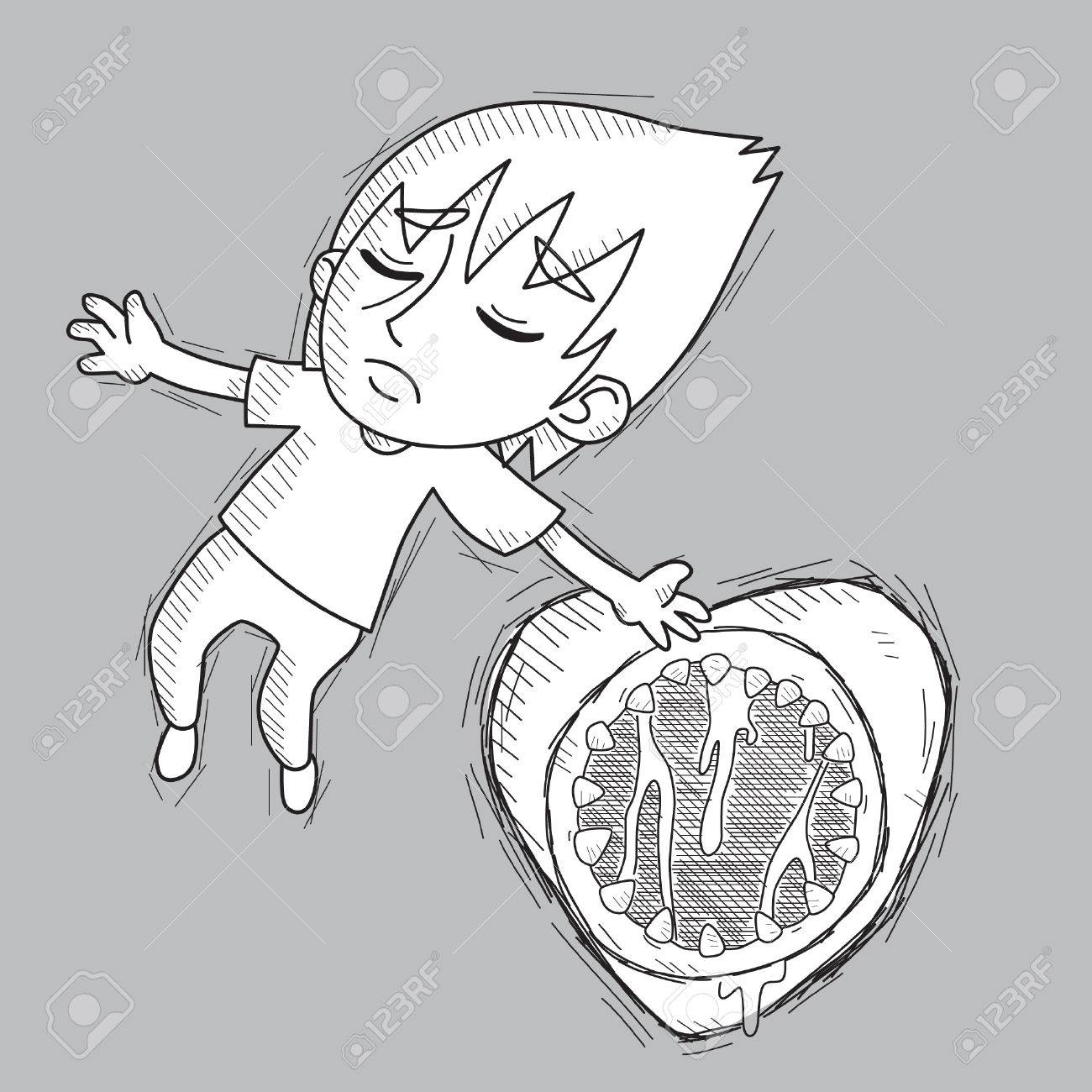 1300x1300 Emo Boy Falling In Love In The Shape Of Monster Vector Stock