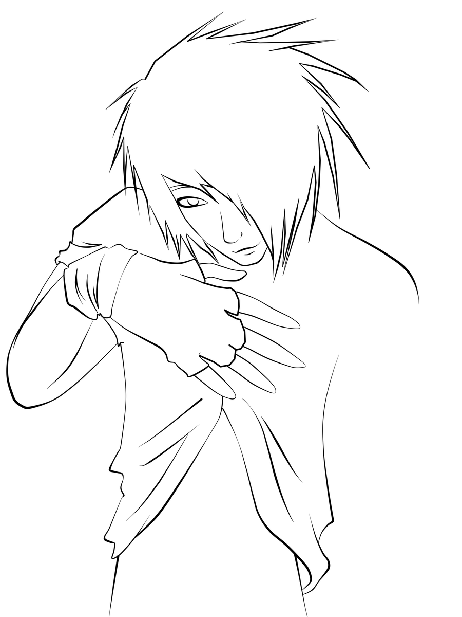 900x1200 Emo Guy Lineart By Cookiimii