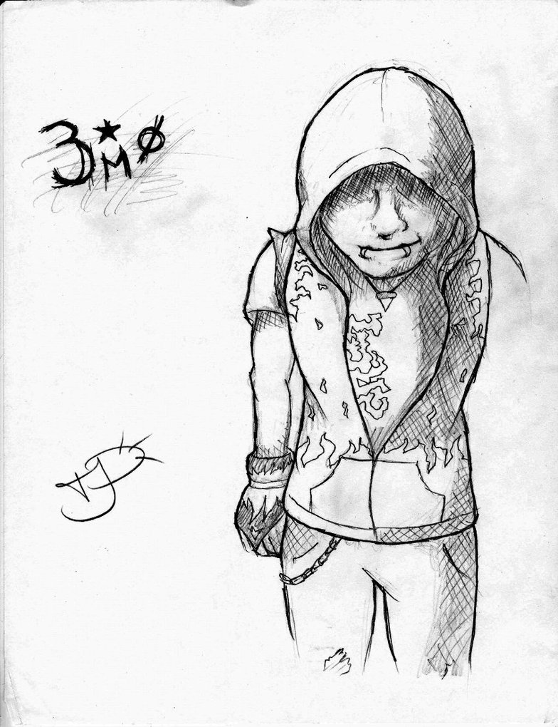 784x1020 Hoodied Emo Kid Sketch By Emohoodiedude