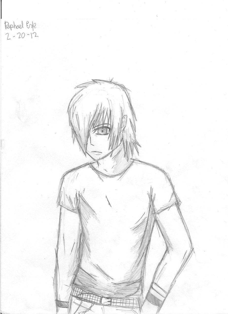 900x1238 Emo Guy Drawing By Pamianime
