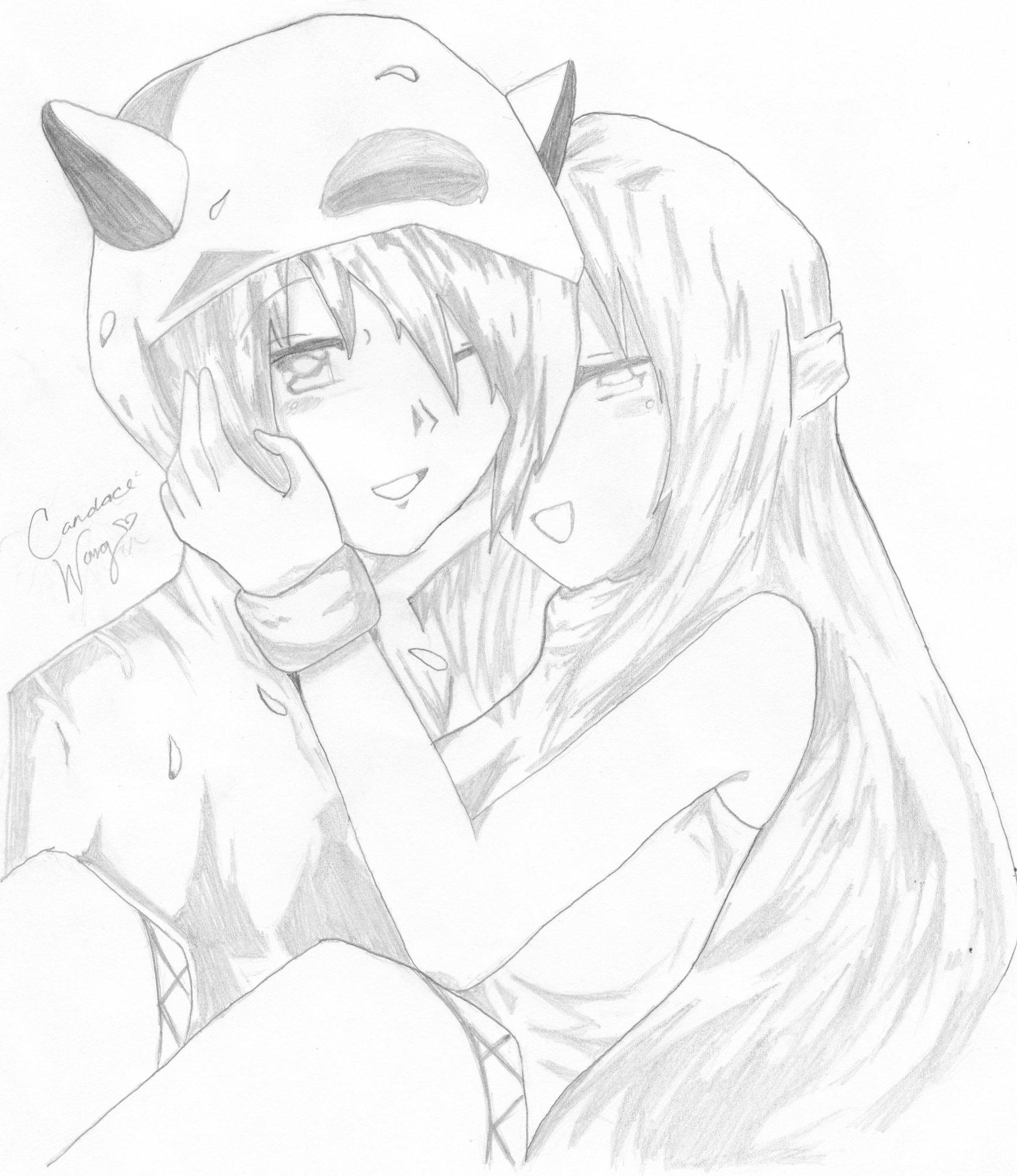 1739x2012 Drawn Anime Couple