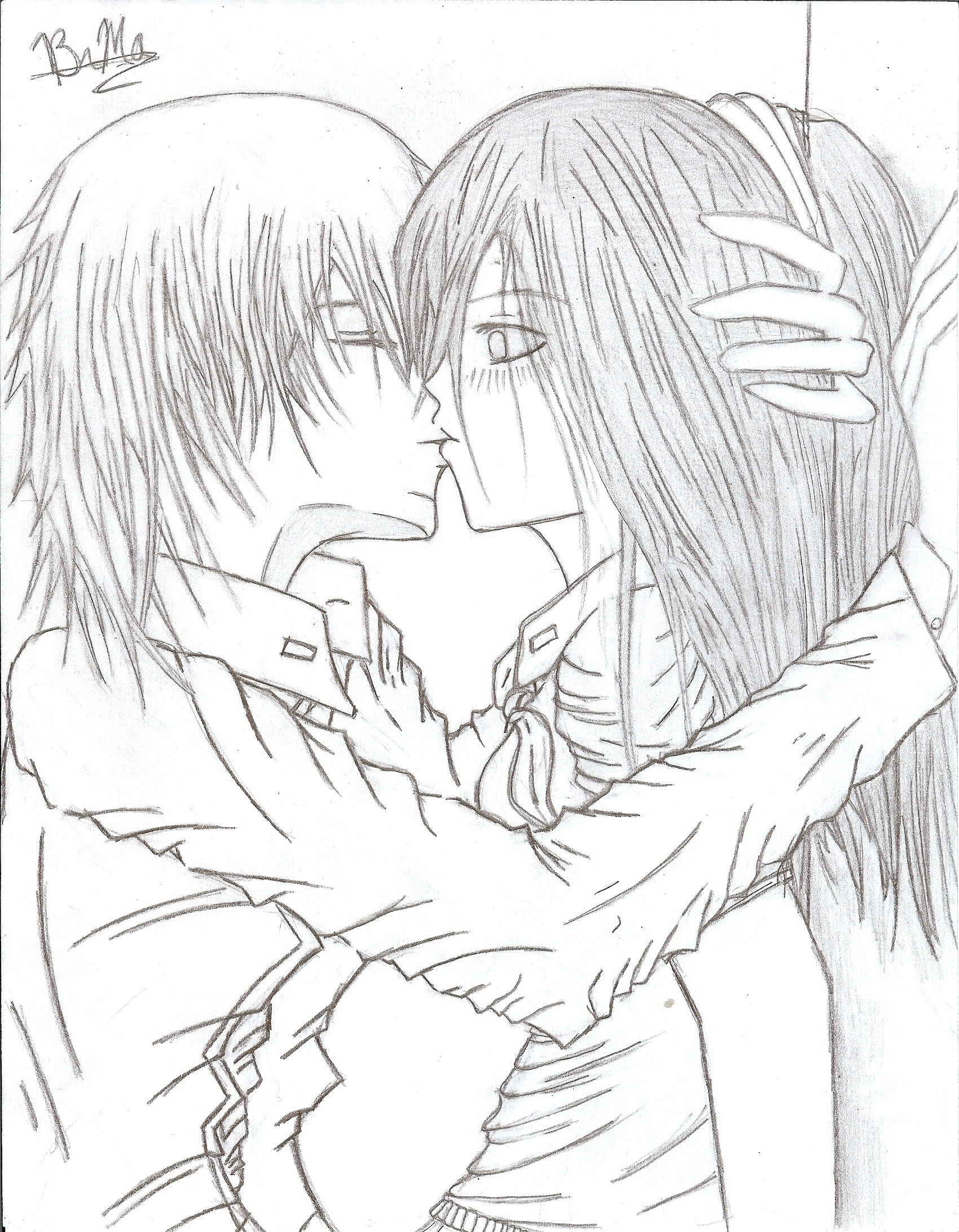 emo couple coloring pages - emo people drawing at free for personal