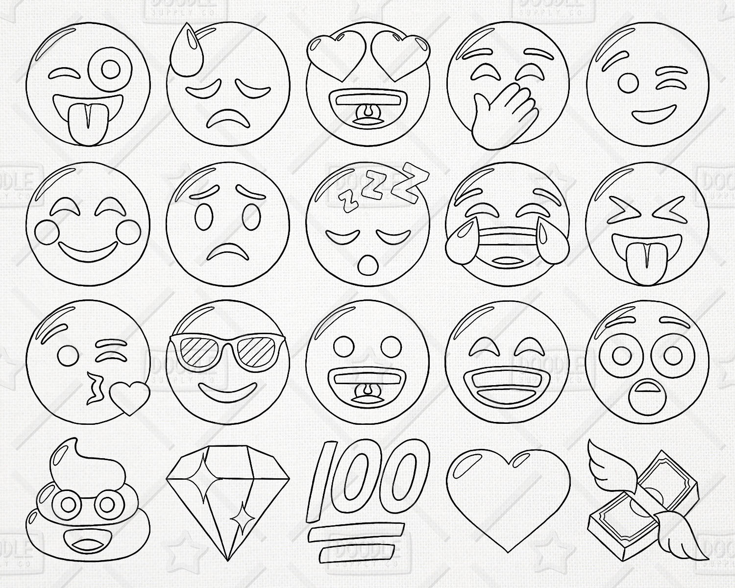 1500x1200 Doodle Emoji Vector Pack, Smiley Faces Clipart, Hand Drawn Emoji