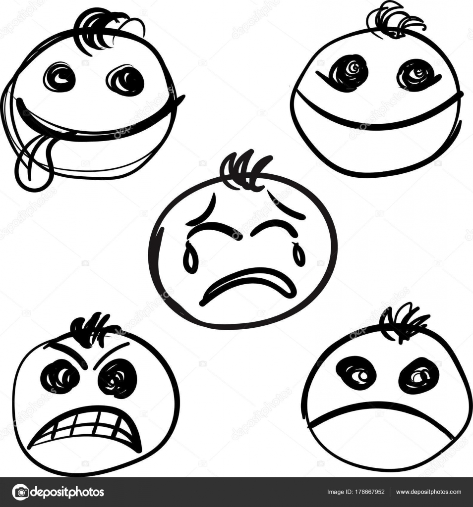 954x1024 Cute Smiles Icons For Emoticons Hand Drawn. Stock Vector