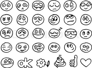 320x237 Emoticon Doodles Set. Vector Hand Drawn Stock Vector Colourbox