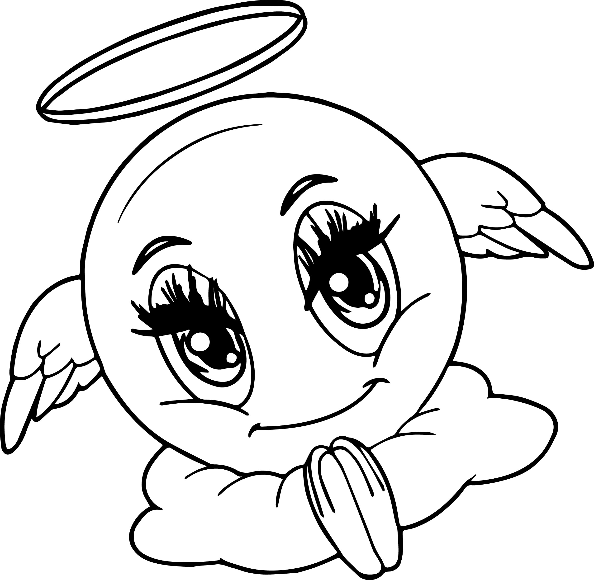 2501x2443 Angel Emoticon Face Coloring Page Wecoloringpage