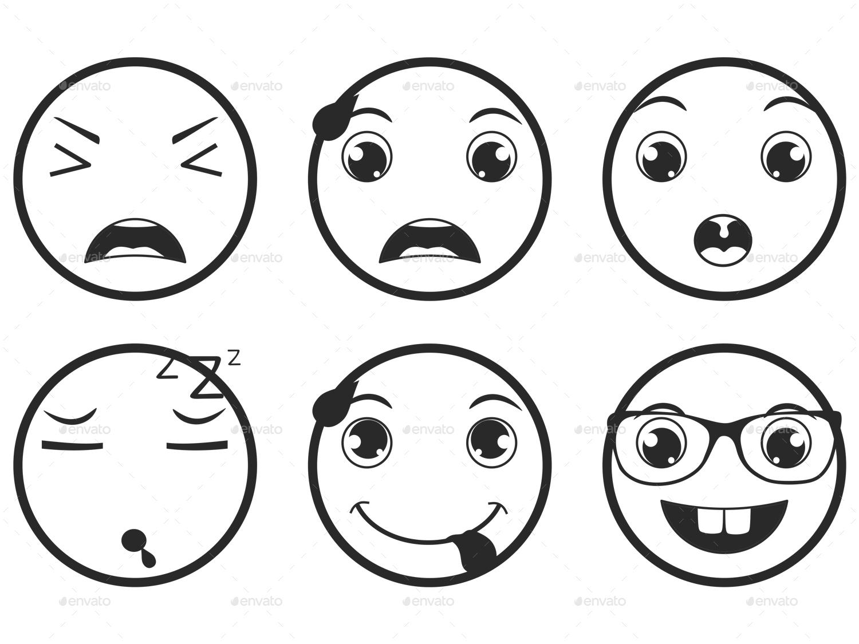 1500x1125 Line Emoticons Emoji Vector Set By Land Art Graphicriver