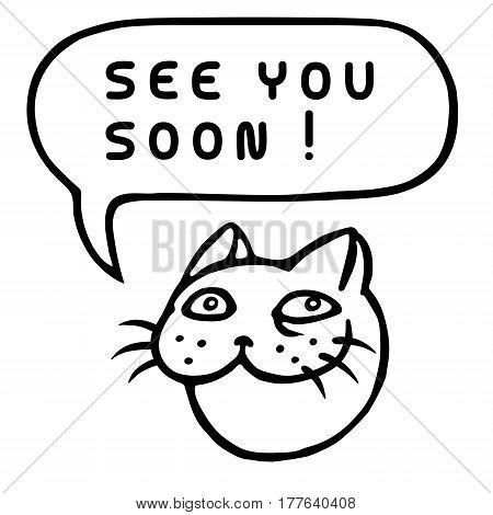450x470 See You Soon! Cartoon Cat Head. Vector Amp Photo Bigstock