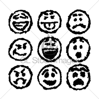 325x325 Set Of Emoticons, Emoji Isolated On White Background Gl Stock Images