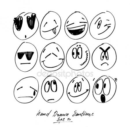 450x450 Collection Of Freehand Drawing Emoticons. Stylised Emotions. Set