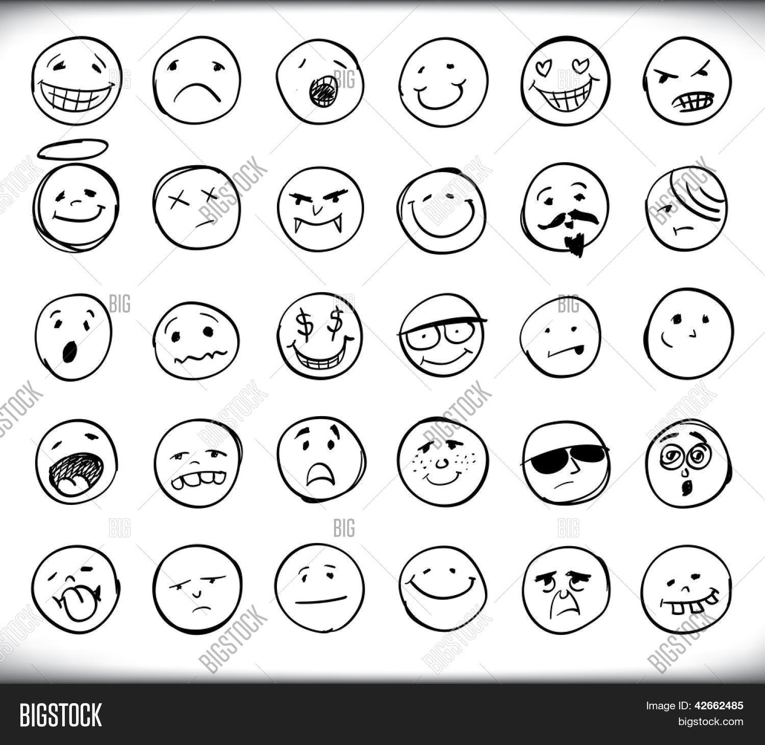 1500x1461 Set Thirty Hand Drawn Emoticons Vector Amp Photo Bigstock
