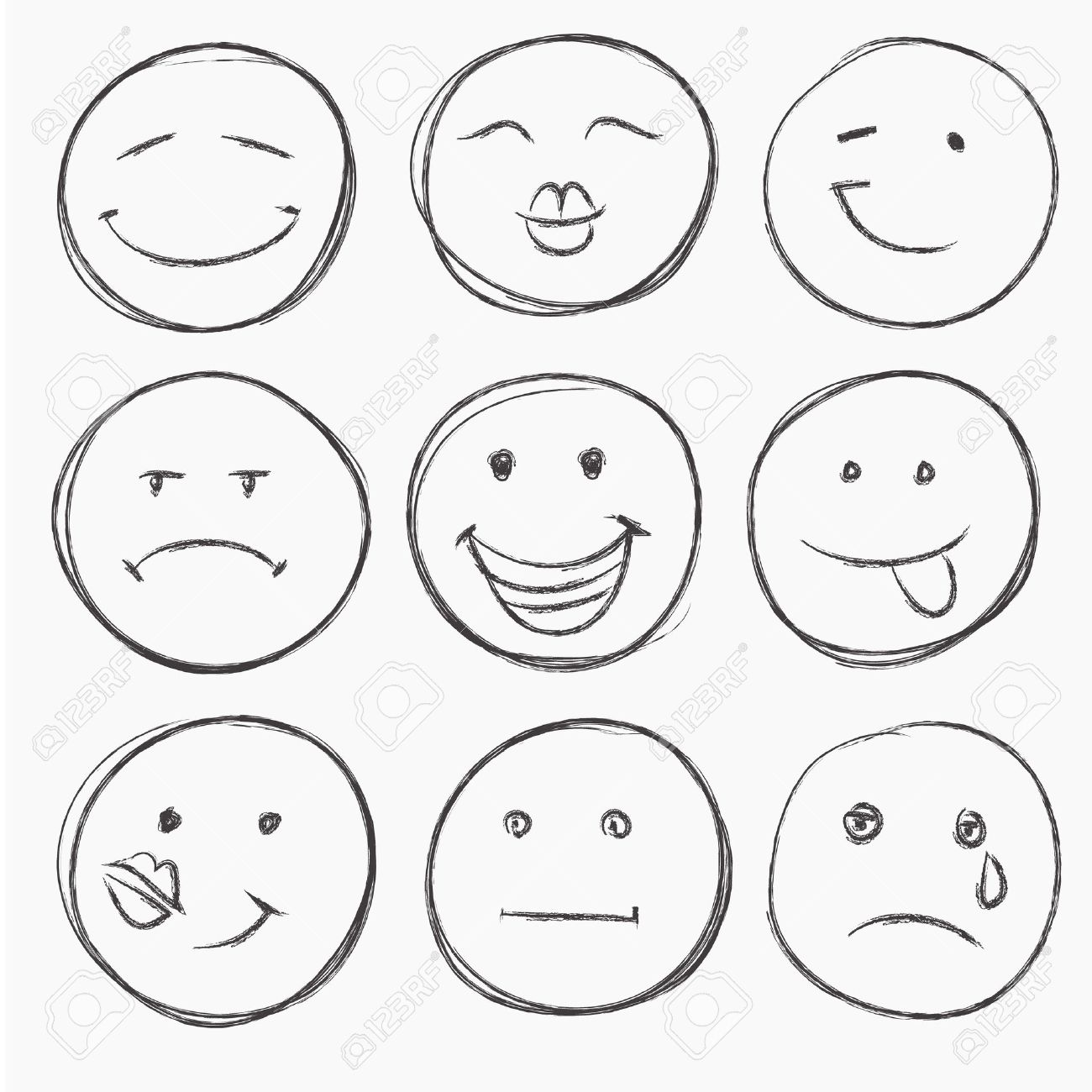 1300x1300 Vector Set Of Hand Drawn Faces, Smiles Isolated Royalty Free