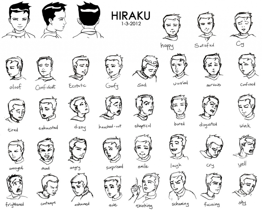 1024x819 Face Expressions Drawing