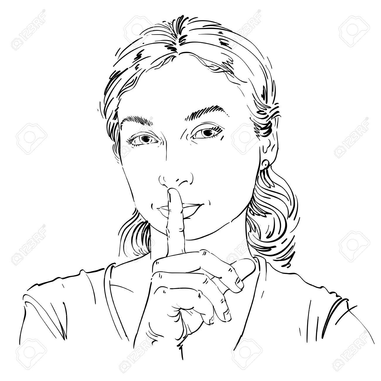 1300x1300 Vector Art Drawing, Portrait Of Peaceful Girl Making A Hush Sign