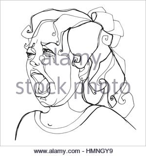 300x320 Young Girl Severely Crying, Human Emotions. Sketch Hand Drawing
