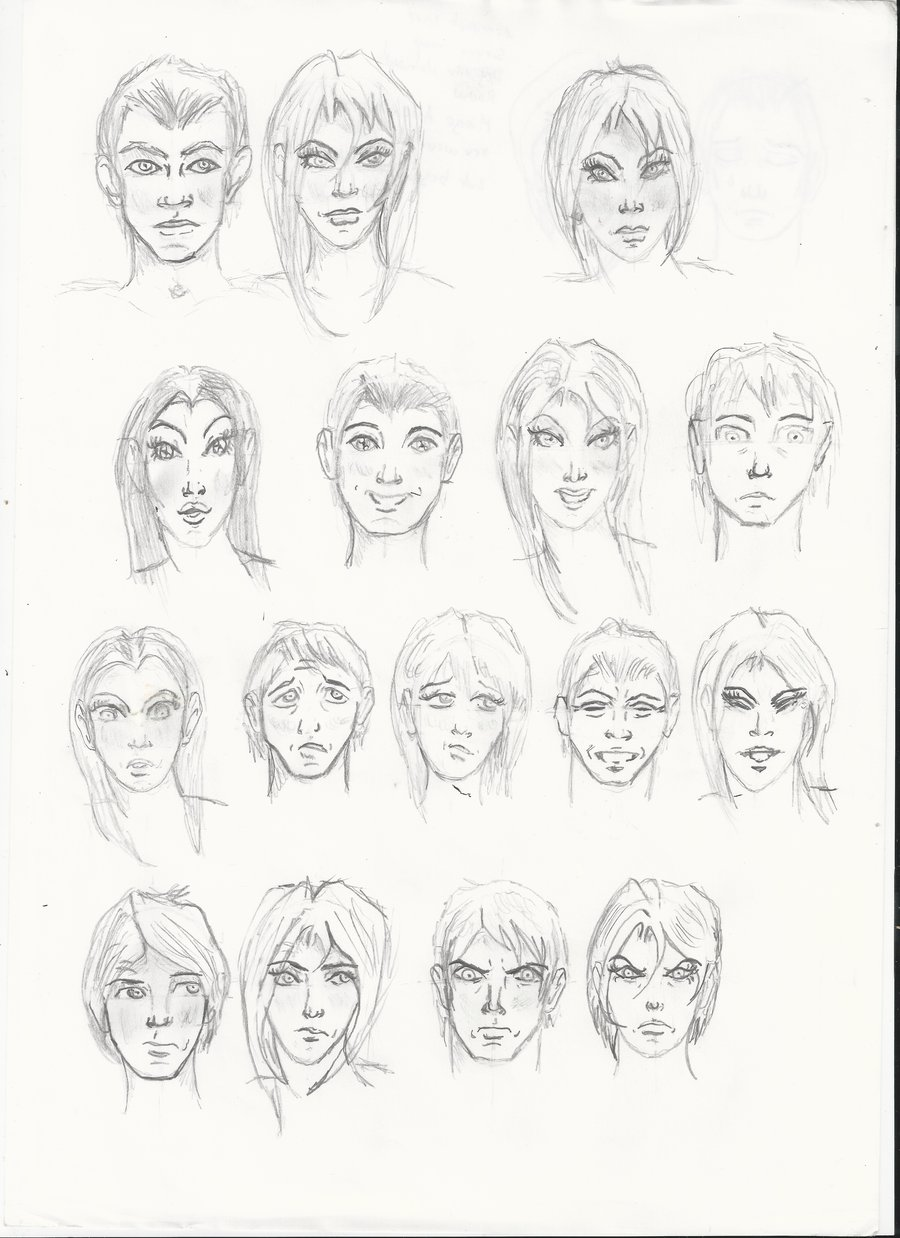 900x1238 Male , Female Facial Emotions Sketches By Serget2
