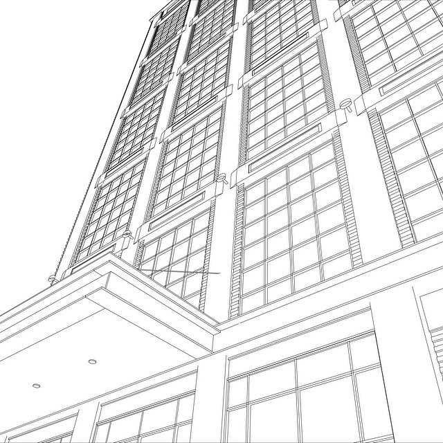 640x640 Architecture Cad Drawing Skyscrapers Apartment Building