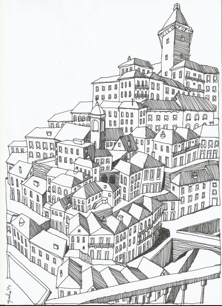770x1059 Saatchi Art Virtual Old City Drawing By Telmo Quadros Ferreira