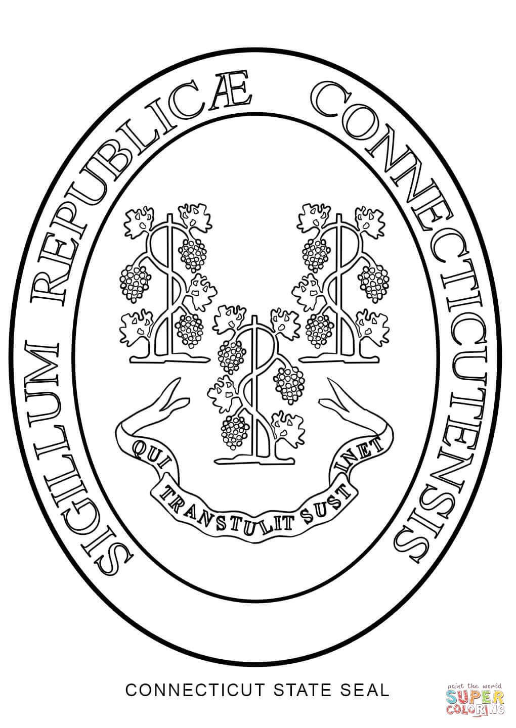 1020x1440 Connecticut State Seal Coloring Page Free Printable Coloring Pages
