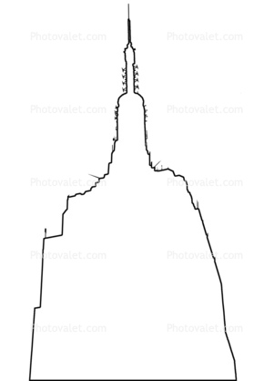 279x418 Empire State Building, New York City, Outline, Line Drawing, Shape