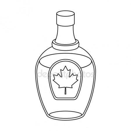 450x450 Canadian Maple Syrup In A Bottle. Canada Single Icon In Outline