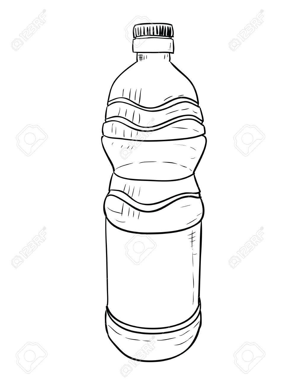 1040x1300 Vector Sketch Of Plastic Bottle. Hand Draw Illustration. Royalty