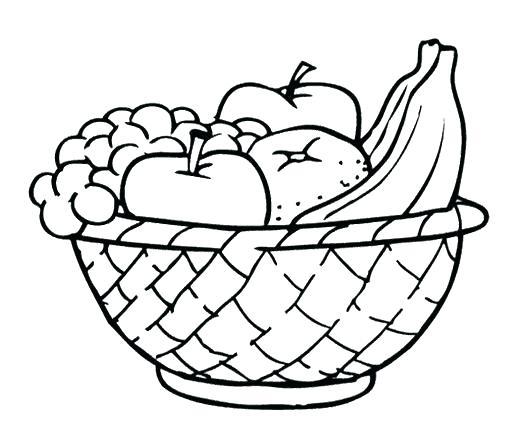 530x441 Fruit Basket Coloring Pages Basket Coloring Page Fruit Basket