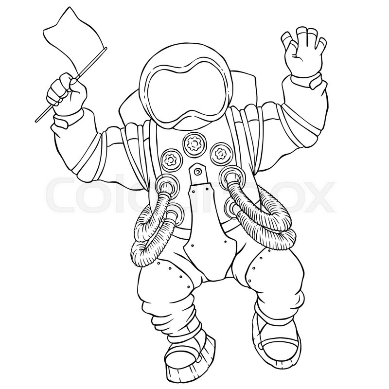 800x800 Illustration Greeting Astronaut Silver Space Suit And Face Mask