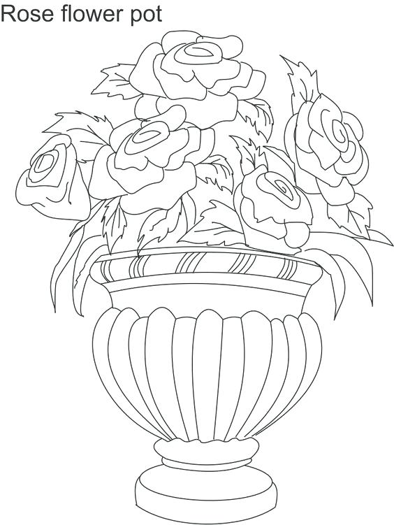 564x751 Minimalist Flower Pot Coloring Page Kids Pages Pots With Flowers