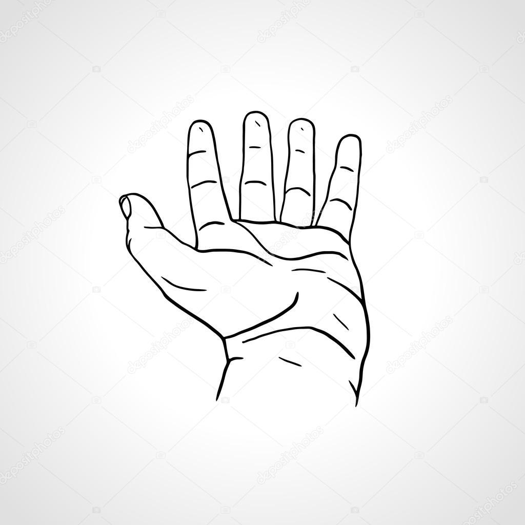 1024x1024 Open Empty Line Art Drawing Hand Stock Vector Kluva