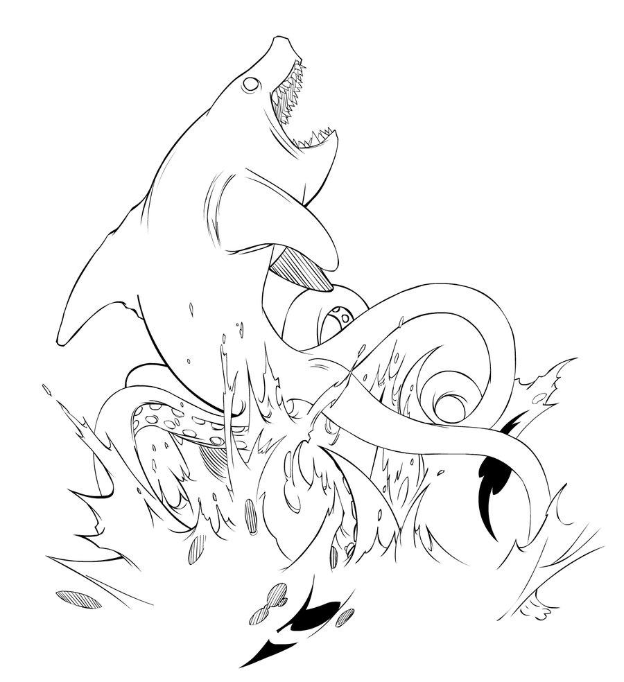900x984 Sharktopus Inks By Empty Brooke
