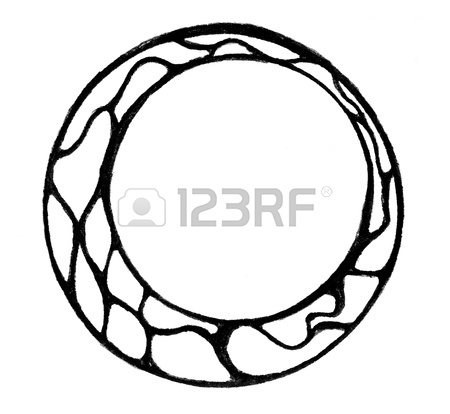 450x414 Doodle Drawing Of Empty Circle With Broad Border Isolated Stock