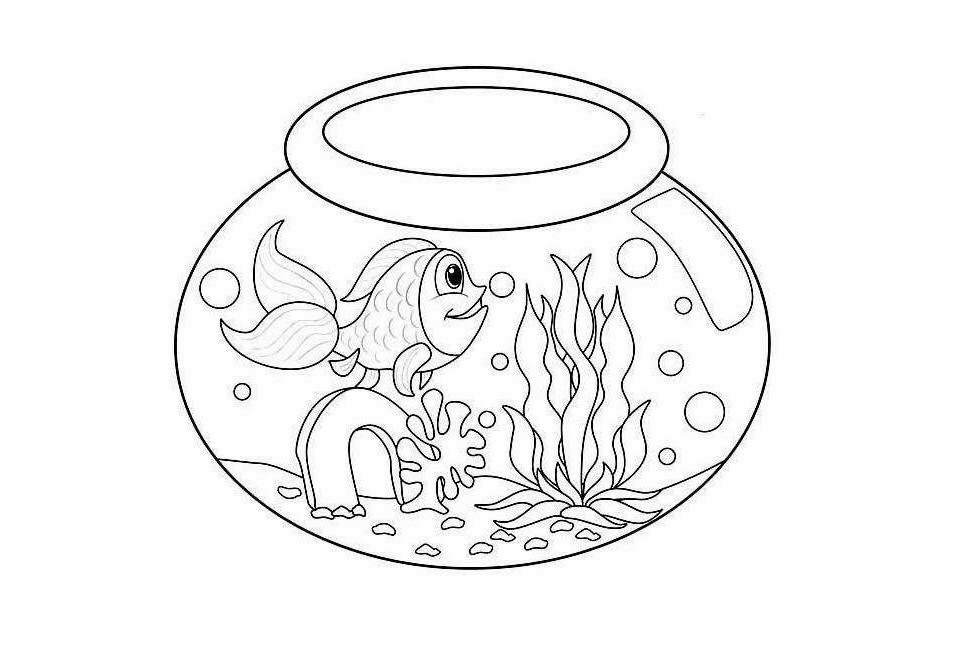 962x663 Fish Bowl Coloring Pages