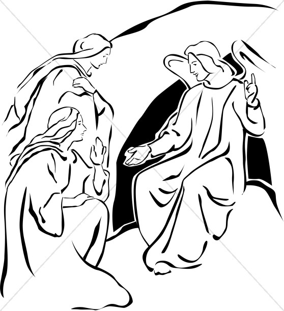 558x612 Two Marys With Angel Near The Empty Tomb Easter Clipart