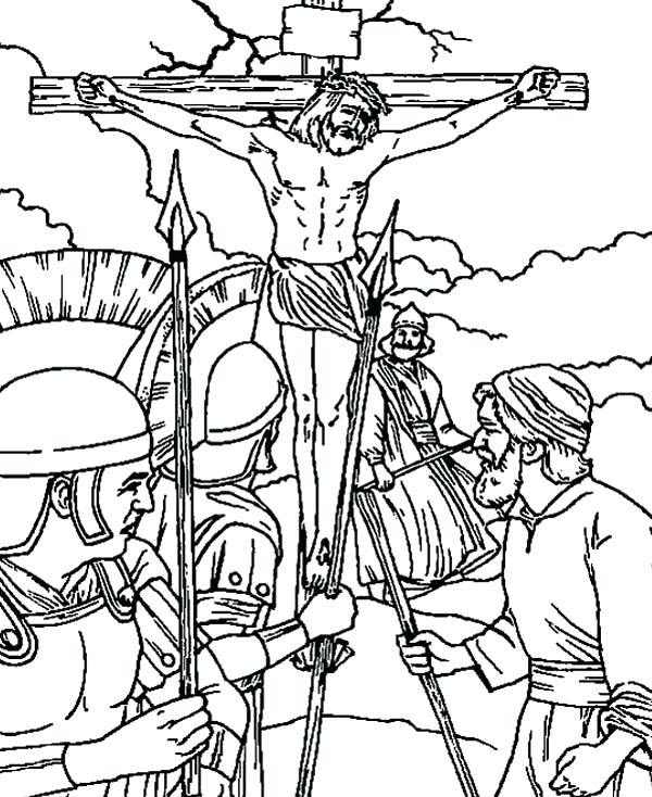 600x734 Crucifixion Coloring Pages The Empty Tomb Coloring Page Jesus
