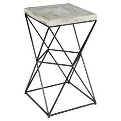 250x250 Ridge Industrial Loft Black Metal Concrete End Table Kathy Kuo Home