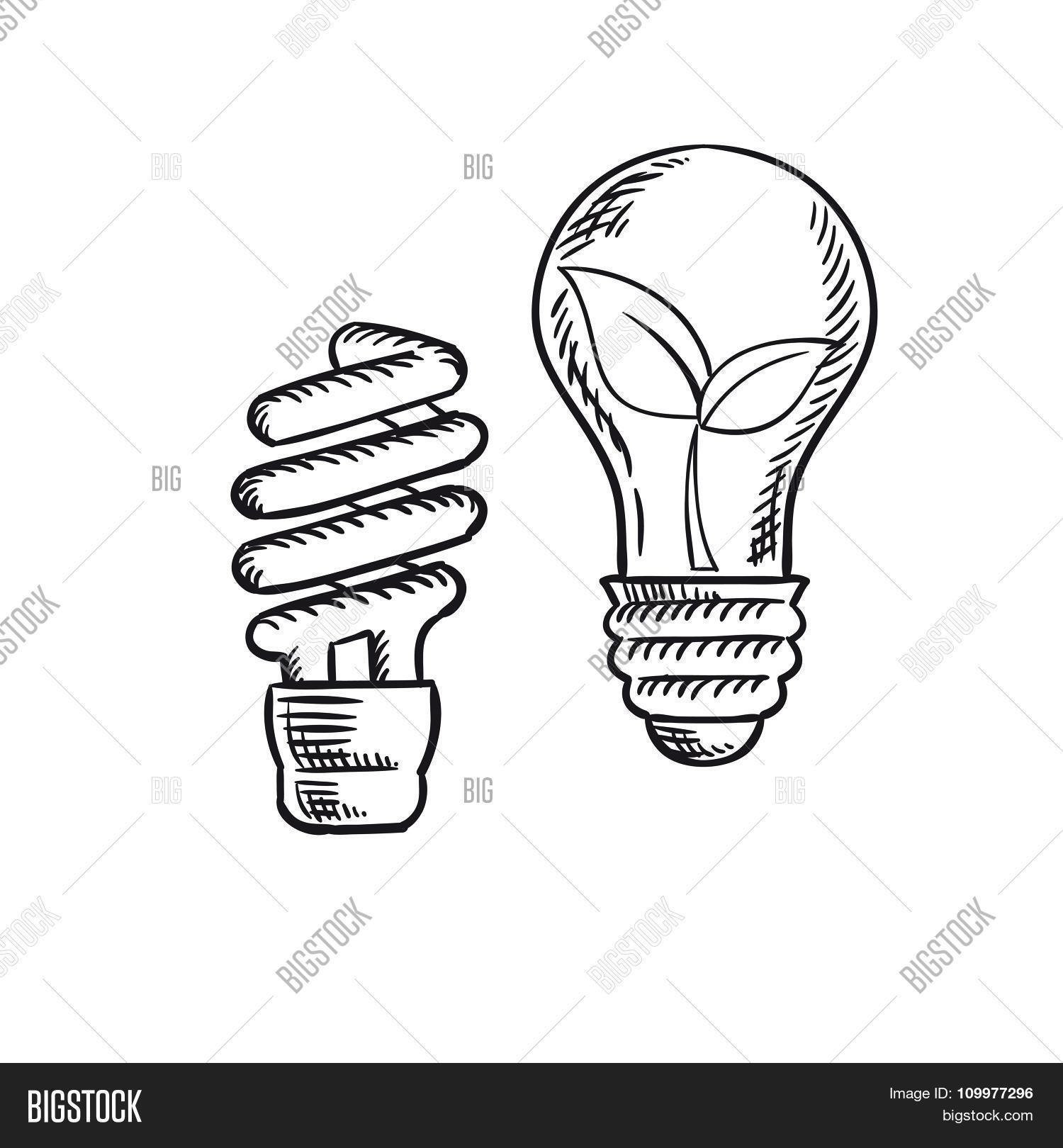1500x1620 Sketch Save Energy Old Light Bulb Vector Amp Photo Bigstock