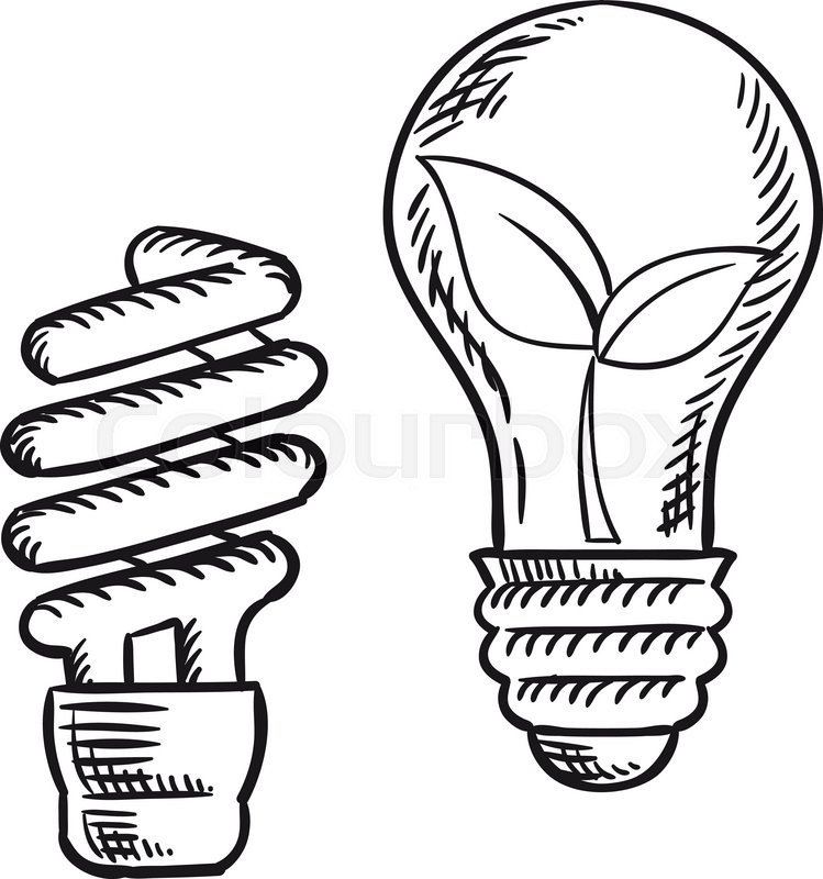 749x800 Sketch Of Fluorescent Energy Saving Light Bulb And Old