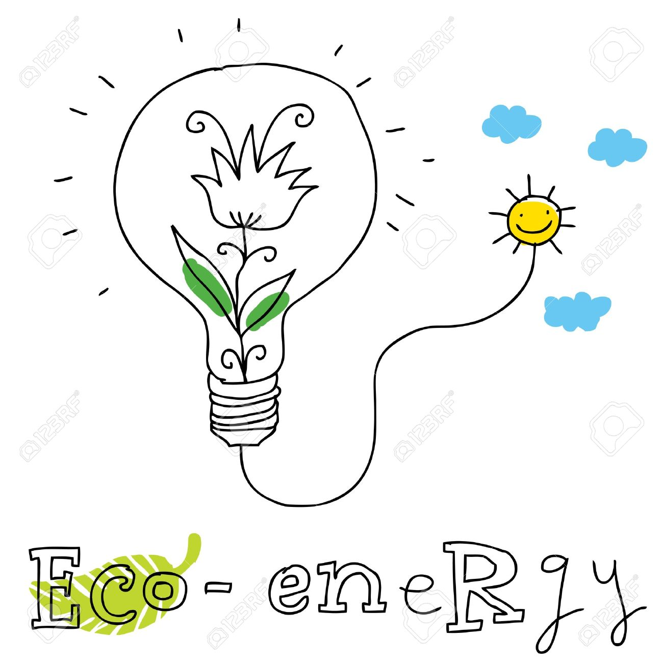 1300x1300 Eco Energy Ecology And Environment Protection, Vector Drawing
