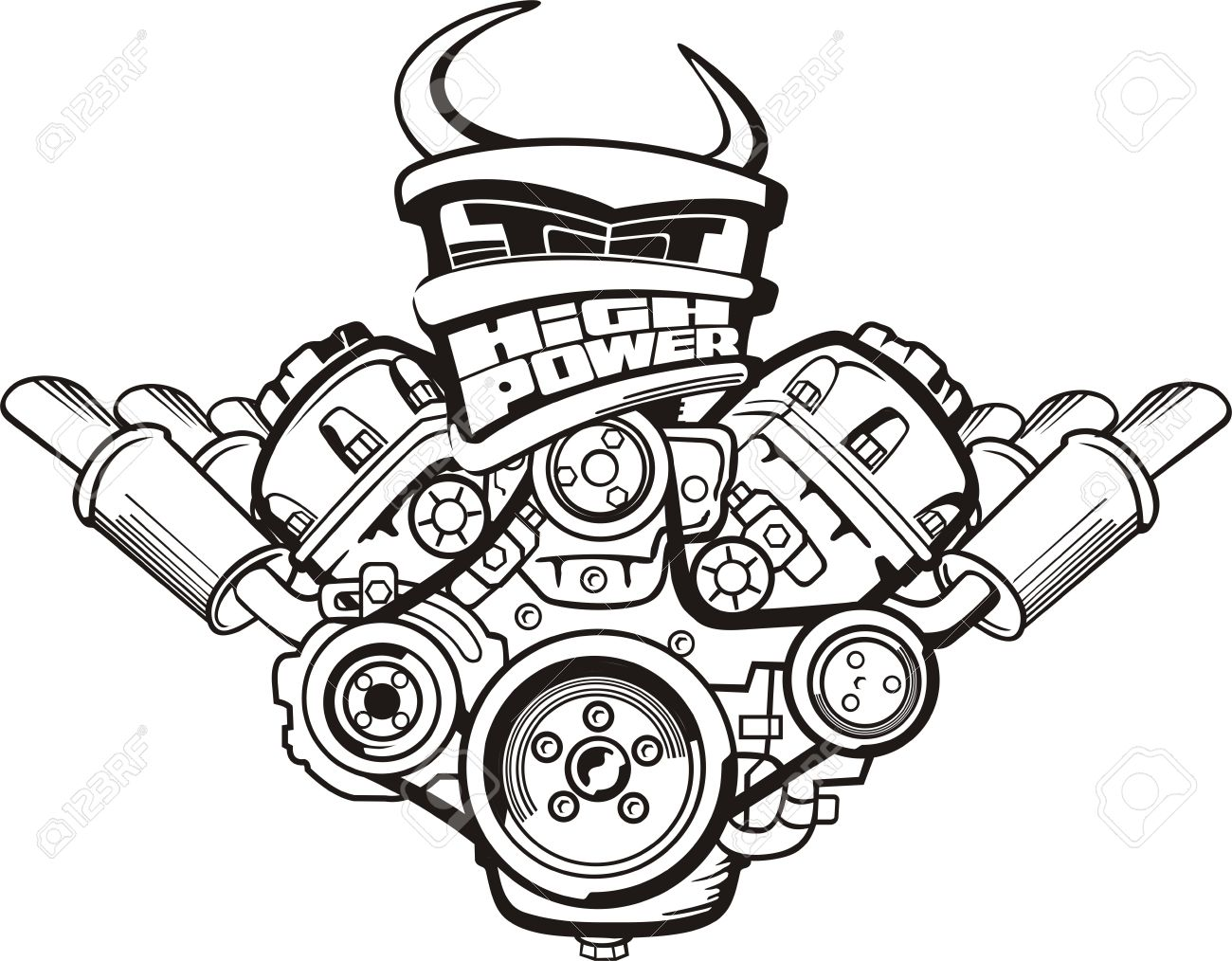 1300x1014 Drawing High Power Car Engine Sign Royalty Free Cliparts, Vectors