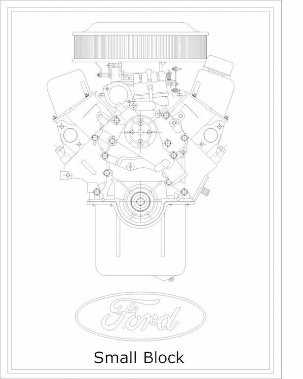 614x768 V8 Engine Technical Drawing Prints Whengparts