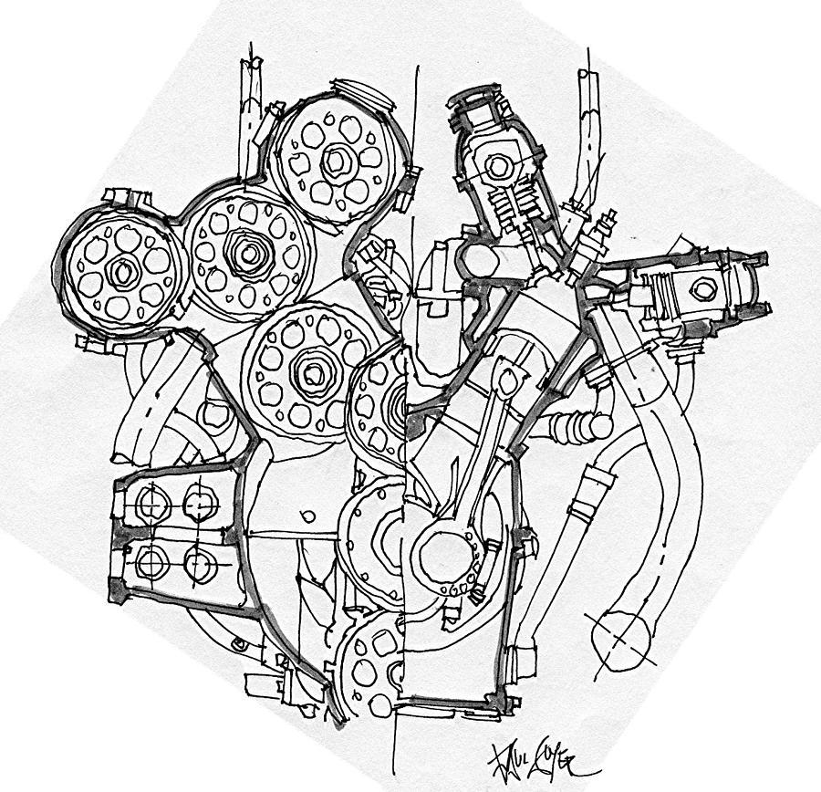 900x868 Alfa Romeo Grand Prix Engine Drawing By Paul Guyer