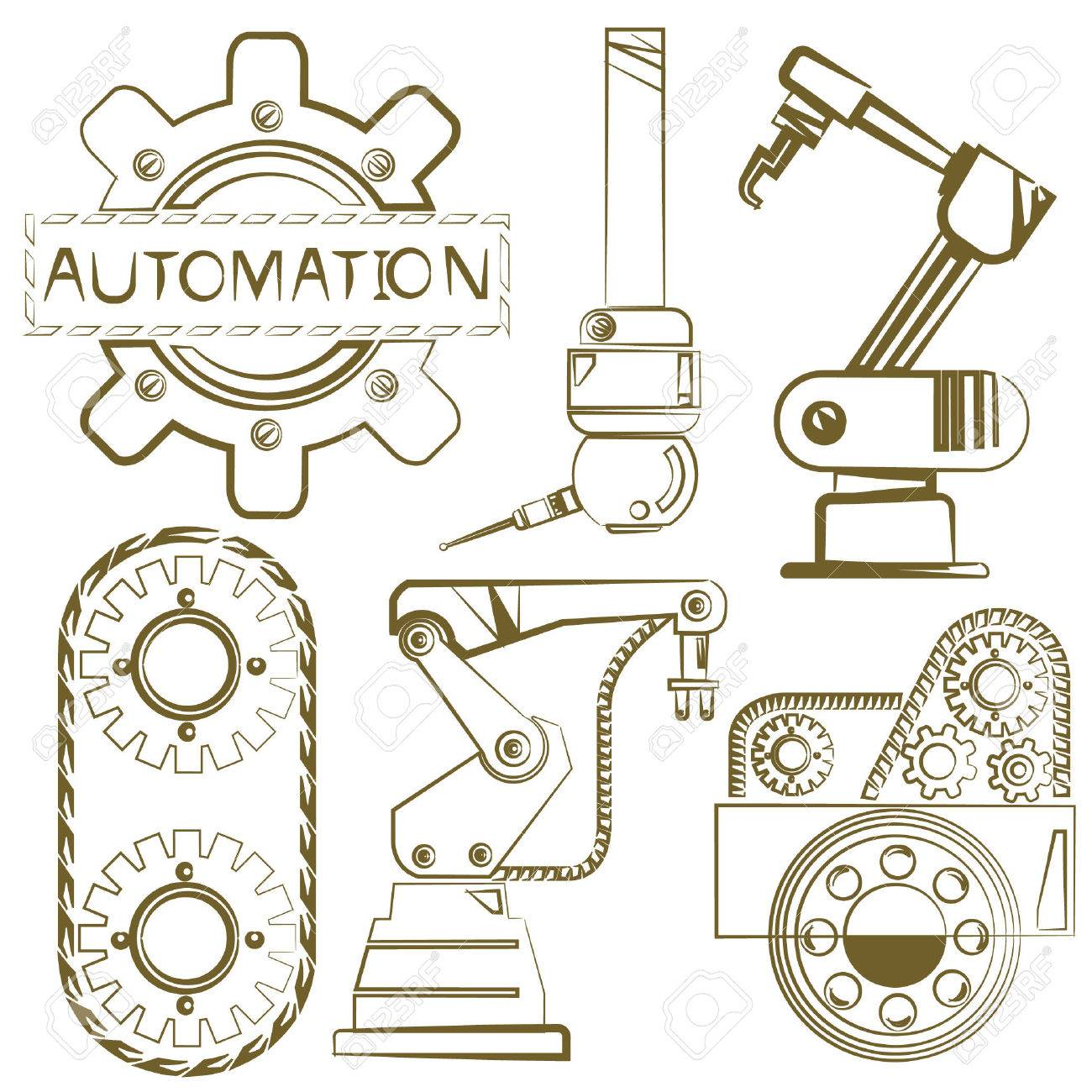 1300x1300 Robotic Set, Engineering Icons, Mechanical Tools, Sketch Line