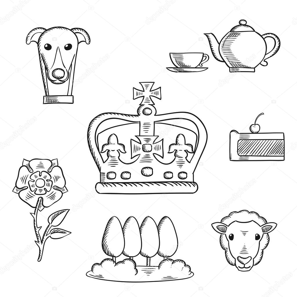 1024x1024 England Traditional Objects And Symbols Stock Vector